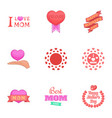 i love mom icons set cartoon style vector image vector image