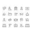 large collection black and white hotel icons vector image