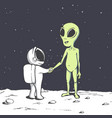 meeting of an alien and an astronaut in space vector image vector image