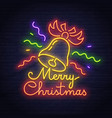 merry christmas neon sign happy new year logo vector image