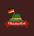 oktoberfest label with german hat vector image vector image