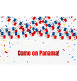 panama garland flag with confetti on transparent vector image vector image