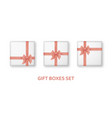 pastel pink gift boxes with ribbons and bows vector image vector image