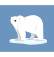 Polar bear standing on ice floe side view vector image