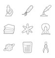 science icons set outline style vector image vector image