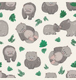 seamless pattern with cute hand drawn wombats and vector image