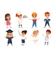 Set boys and girls kid wearing costumes of