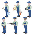 set of decorator or handyman with equipment for vector image vector image