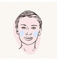 sketch pretty woman head with colored cheeks vector image