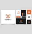 sun beach logo design with business card vector image vector image