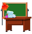 the teachers desk and chalkboard with space for vector image