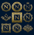 vintage monograms set of n letter vector image