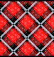 white snowflakes seamless with red tartan pattern vector image vector image