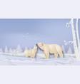 wildlife winter scenes with polar bear vector image