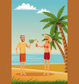young couple in the beach vector image vector image