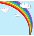Rainbow and clouds Light blue background vector image