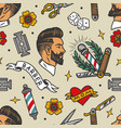 barbershop tattoos colorful seamless pattern vector image vector image