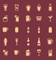 beverage color icons on red background vector image vector image