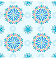bright mandala pattern in blue with green vector image vector image