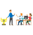 business meeting workers and boss man vector image vector image