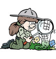 cartoon a little happy scout girl vector image