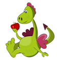 Cartoon dragon with red apple
