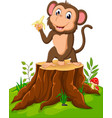 cartoon funny monkey holding banana on tree stump vector image vector image
