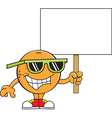 Cartoon orange holding a sign vector image vector image