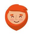 cartoon smiling face man beard character close vector image
