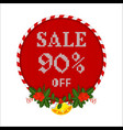 christmas sale tag with holly berry branch vector image