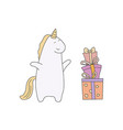 cute unicorn in cartoon style cute unicorn in vector image vector image