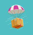 delivery service parachute with cardboard box vector image vector image