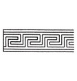 elongated fret band has a meandering pattern that vector image vector image