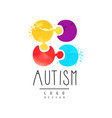 emblem with multi-colored puzzle genetic vector image vector image