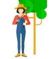 Farmer with pruner vector image vector image