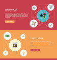 flat icons financing coin gear and other vector image vector image