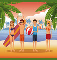 friends in the beach cartoons vector image