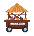 fruit bar cart stall banana and pineapple vector image vector image