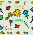 gardening theme seamless kids doodle pattern vector image