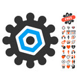gear icon with love bonus vector image vector image