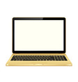gold laptop with blank screen isolated on white vector image