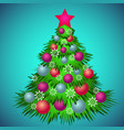 green christmas tree decorated with toys and vector image