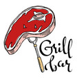 grill bar hand drawn cartoon logo vector image vector image