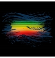Grunge rainbow brush stroke with stripes on black vector image vector image