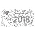 half moon happy new year 2018 vector image