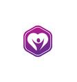 healthy person open hands inside a heart logo vector image vector image