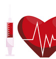heart cardio with injection vector image vector image