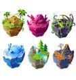 isometric 3d fantasy island set game design vector image