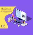 isometric concept for human resources vector image vector image