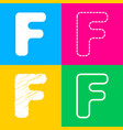 letter f sign design template element four styles vector image vector image